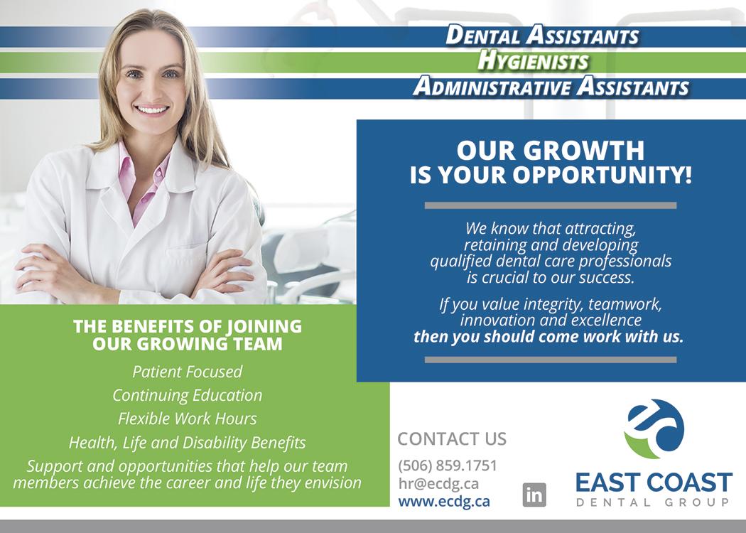 Job vacancies for dentist, dental hygienists, dental assistants, and dental receptionists